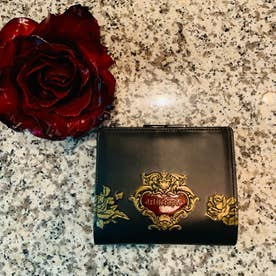 ローズジャルダン 二つ折りがま口財布 (ブラック)