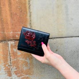 フィセルローズ 二つ折り財布 アウトポケット(ブラック×レッド)