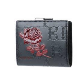 フィセルローズ 二つ折りがま口財布 (ブラック×レッド)