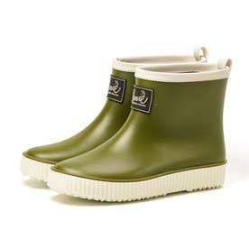 レインブーツ レディース ショート レイン AN0991 長靴 シンプル (オリーブ)