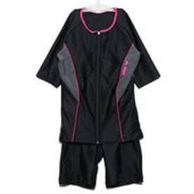 レディース 水泳 フィットネス水着 大きめカラースナップ付き袖付きセパレーツ(差し込みフィットパッド) LAR-9242WE【返品不可商品】