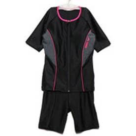 レディース 水泳 フィットネス水着 大きめカラースナップ付き袖付きセパレーツ(差し込みフィットパッド) LAR-9242W【返品不可商品】
