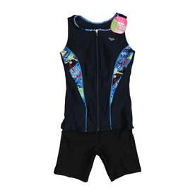 レディース 水泳 フィットネス水着 大きめカラースナップ付きセパレーツ(差し込みフィットパッド) LAR-1243W 【返品不可商品】 (他)