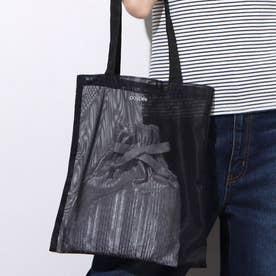プリーツ巾着付きメッシュトート (BLACK)