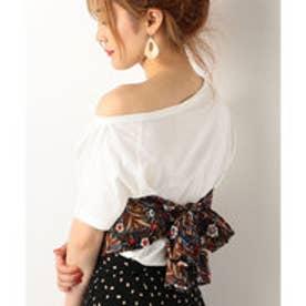A-スカーフ付きワンショルTシャツ (WHITE)