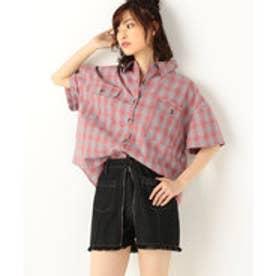 A-半袖短丈チェックシャツ (PINK)