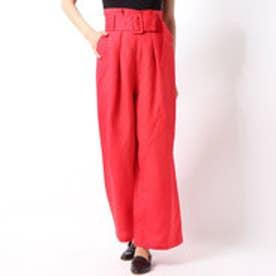 A-ベルト付麻ワイドパンツ (RED)