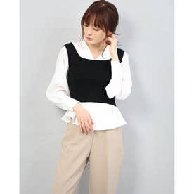 バックリボンビスチェ+ボリューム袖BLSET (BLACK)