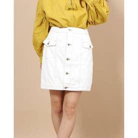 Aラインデニムタイトスカート (OFF WHITE)