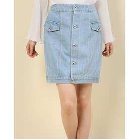 Aラインデニムタイトスカート (BLUE)