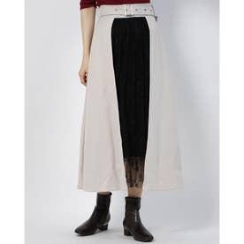 異素材切替スカート (BEIGE)