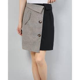 チェック×ムジラップスカート (BLACK)