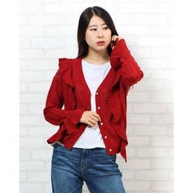 透かし編み肩フリルニットカーデ (RED)