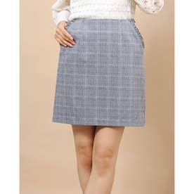 春チェックフリル台形スカート (NAVY)