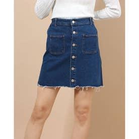 前釦デニムタイトスカート (ROYAL BLUE)