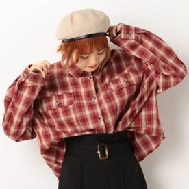綿チェックBIGシャツ (レッド)