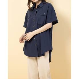 半袖無地チュニックBIGシャツ (NAVY)
