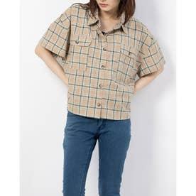 半袖短丈チェックシャツ (BEIGE)