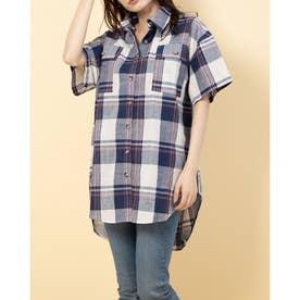 半袖チェックチュニックBIGシャツ (NAVY)