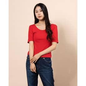 バック深Uネックシャツ半袖' (RED)