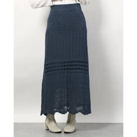 クロシェニットスカート (ブルー)
