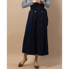 シフォンプリーツトレンチスカート (ネイビー)