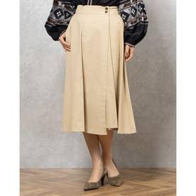 綿ツイル巻きスカート (ベージュ)