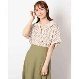 A-花柄オープンカラー半袖シャツ (IVORY)