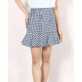 裾フレアギンガムチェックスカート (NVY)