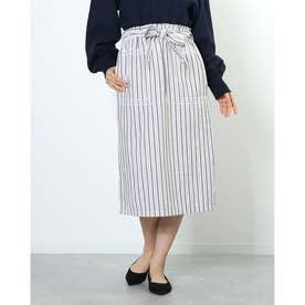 アウトレット outlet a-マルチストライプ刺繍スカート (NVY)
