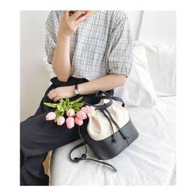 巾着配色バケツバッグ トートバッグ26012 (ブラック)
