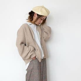 フェイクレザーベレー帽 (アイボリー)