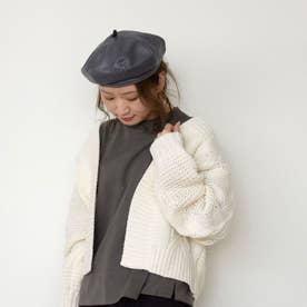 フェイクレザーベレー帽 (グレー)
