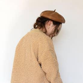 フェイクレザーベレー帽 (ブラウン)