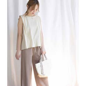 Back belt flare sleeveless tops 24149 (ベージュ)