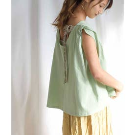 Back belt flare sleeveless tops 24149 (グリーン)