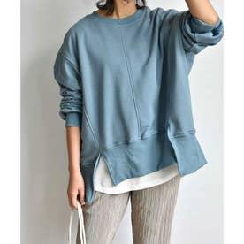 Hemcut wide sweat pullover 24157 (ブルー)