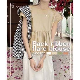 Back ribbon flare blouse (ベージュ)
