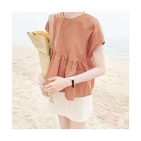 Back ribbon flare blouse (テラコッタ)