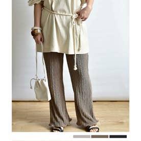 Satin mini pleats pants 22002 (モカ)