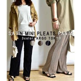 Satin mini pleats pants 22002 (ブラック)