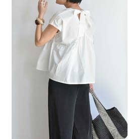 Back ribbon flare blouse 23055 (ホワイト)