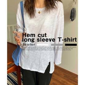 Hem cut long sleeve T-shirt (ホワイト)