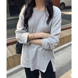 Hem cut long sleeve T-shirt (グレー)