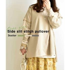 Side slit Stitch pullover 24007 (ベージュ)
