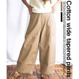 Cotton wide tapered pants 22079 (キャメル)