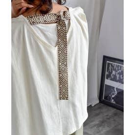 Back belt flare sleeveless tops 24149 (ホワイト)