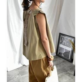 Back belt flare sleeveless tops 24149 (カーキ)