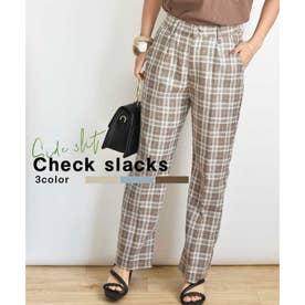 Check slacks 22005 チェックスラックス (ブラウン)