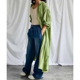 Cotton sheer volume shirt one-piece 2901401 コットンシアーボリュームシャツワンピース (グリーン)